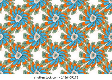 Raster floral pattern with abstract flowers. Textile print for bed linen, jacket, package design, fabric and fashion concepts. Abstract seamless design. Grunge green, white and blue background.