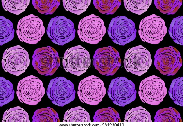 Raster floral seamless pattern. Background of a neutral, pink and violet painted roses.