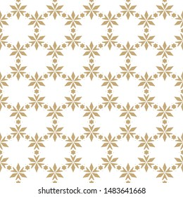 Raster floral seamless pattern. Elegant Christmas background. Golden geometric texture with small flowers, stars, leaves, triangles. Winter holiday ornament. Gold festive design for decor, gift paper