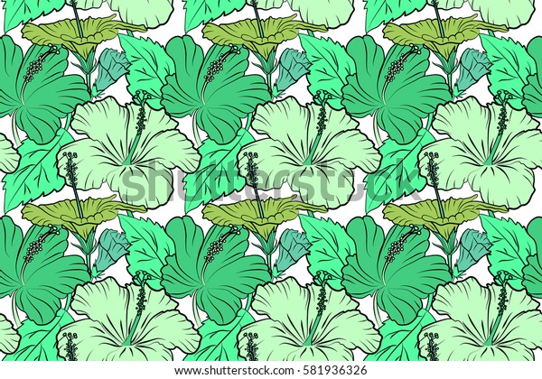 Raster floral seamless pattern. Various hibiscus hawaiian tropical flowers in green colors on a white background.