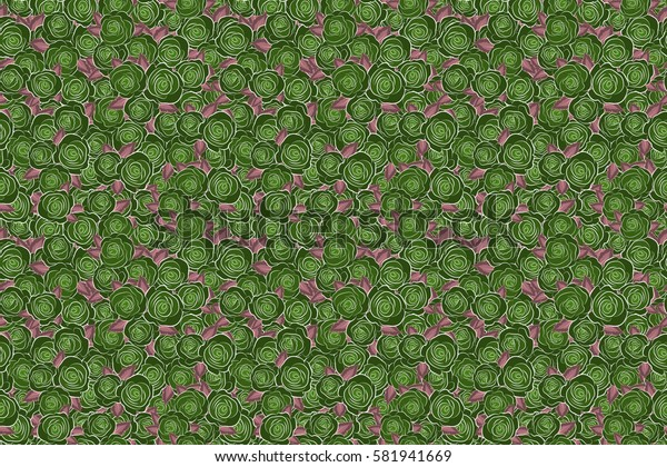 Raster floral sketch. Green roses pattern. Hand drawn rose flowers. Flower pattern with roses. Vintage flower seamless pattern.