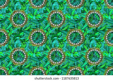 Raster floral wedding decorative elements. Seamless pattern mehndi floral lace of buta decoration items on green, black and blue colors.