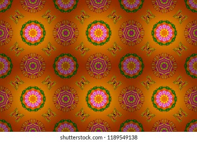 Raster floral wedding decorative elements. Seamless pattern mehndi floral lace of buta decoration items on orange, yellow and green colors.