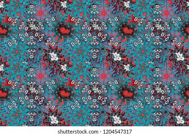 Raster floral wedding decorative elements. Seamless pattern mehndi floral lace of buta decoration items on blue, black and pink colors.