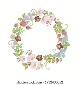 Raster floral wreath. Elegant vintage border with spring flowers and green leaves in watercolor style isolated on white background. Beautiful design template for wedding decor, invitation card, banner
