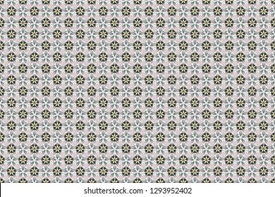 Raster flower miniprint seamless pattern in purple, beige and green colors. Stylized hand drawn little flowers.