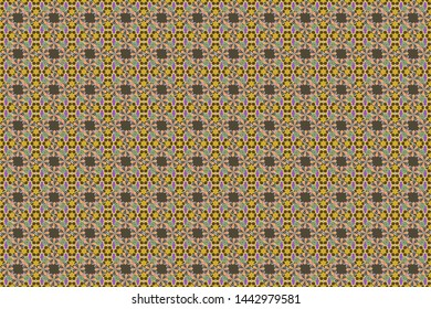Raster flower miniprint seamless pattern in brown, gray and yellow colors. Stylized hand drawn little flowers.