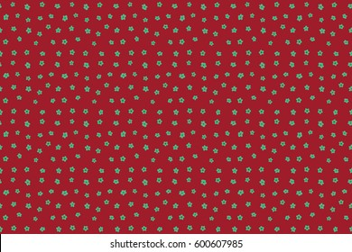 Raster flower miniprint seamless pattern in red and green colors. Stylized hand drawn little flowers.