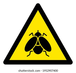 Raster fly flat warning sign. Triangle icon uses black and yellow colors. Symbol style is a flat fly hazard sign on a white background. Icons designed for notice signals, road signs, safety agitation.