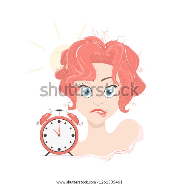 Raster Funny Illustration Oversleep Ringing Alarm Stock