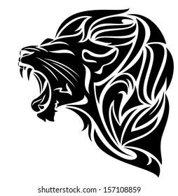 raster - furious lion black and white outline - tribal design