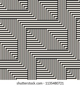 Raster geometric lines seamless pattern. Abstract graphic striped ornament. Simple black and white stripes, zigzag shapes. Modern stylish linear background. Repeat design for decor, prints, textile