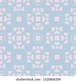 Raster geometric seamless pattern with abstract floral shapes, crosses, squares, repeat tiles. Ornament texture in Asian style. Soft pastel colors, light pink and blue. Simple modern background design