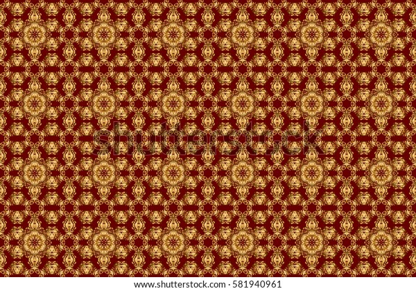 Raster geometric seamless pattern with golden gradients. Golden color seamless illustration on a red backdrop. Geometric background. For your design, wallpaper.