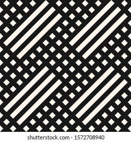 Raster geometric seamless pattern. Modern texture with diagonal lines, stripes, chevron, squares, grid, net, mesh. Simple abstract geometry. Black and white graphic background. Monochrome design
