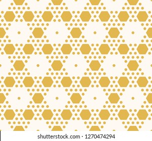 Raster geometric seamless pattern. Ornament with small yellow hexagons, hexagonal grid, lattice, repeat tiles. Ornamental background in white and mustard colors. Honeycomb texture. Abstract design