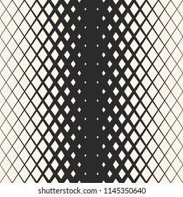 Raster geometric seamless pattern with rhombuses, diamond shapes, crystals. Halftone effect. Monochrome background with gradient transition. Abstract black & white texture. Hipster fashion design