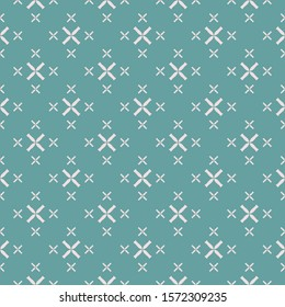 Raster geometric seamless pattern with small flowers, crosses. Elegant minimalist texture in turquoise green and pink color. Abstract minimal repeat background. Design for decor, wallpapers, textile