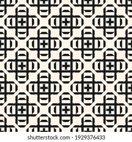 Raster geometric seamless pattern with square shapes, crosses, diamonds, lines, grid, lattice. Simple black and white geometrical background. Abstract monochrome texture. Repeat design for textile