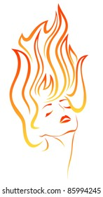 raster - girl with flaming hair portrait (vector version is available in my portfolio)