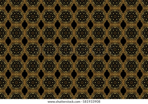 Raster gold ornament on a black background. Can be used for luxury greeting rich card. Vintage seamless texture. Pattern with golden elements on a black background.