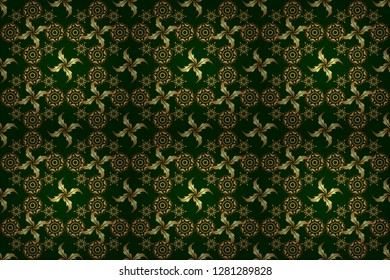 Raster gold star pattern, star decorations, golden grid on a green background. Luxury gold seamless pattern with stars.