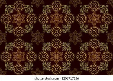 A raster golden ornament in east style. Design for the text, invitation cards, various printing editions. Seamless pattern with golden elements on a brown background.