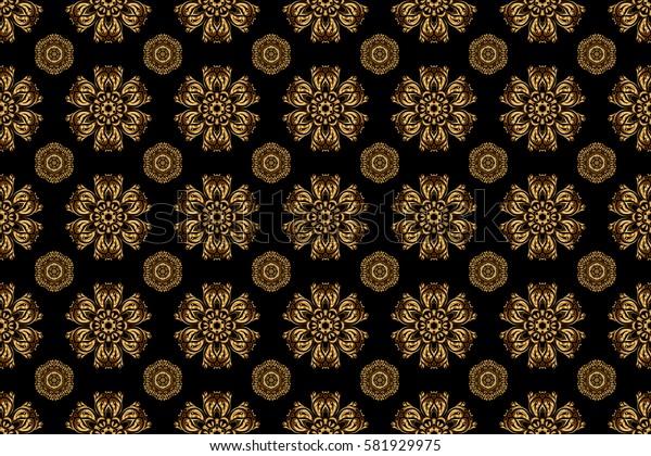 Raster golden seamless pattern. Seamless floral border with vintage golden ornament on black background.