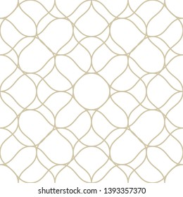 Raster golden seamless pattern with thin curved lines. White and gold illustration of fishnet, lace, mesh, weave, net. Subtle background texture. Simple repeatable design for decor, fabric, wallpaper