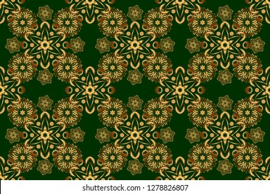 Raster golden texture, gold lines and grids seamless pattern, curved metal, foil background with 3D visual effects on a green background.