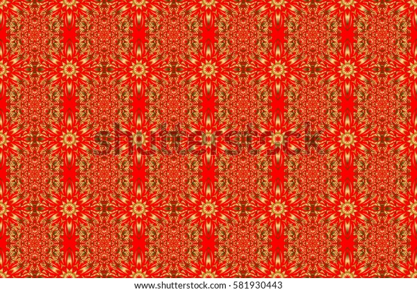 Raster golden texture, gold lines and grids seamless pattern, curved metal, foil background with 3D visual effects on a red background.