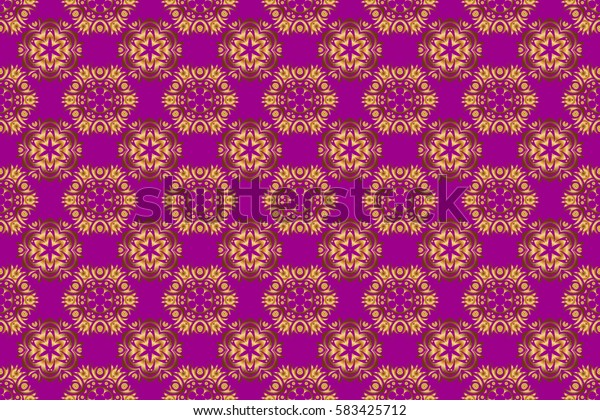 Raster golden texture, gold lines and grids seamless pattern, curved metal, foil background with 3D visual effects on a purple background.