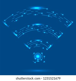 Raster GPRS Logo. Radio Wave Icon. Wireless Network Symbol Isolated on Blue Background. Mobile Conceptual Emblem