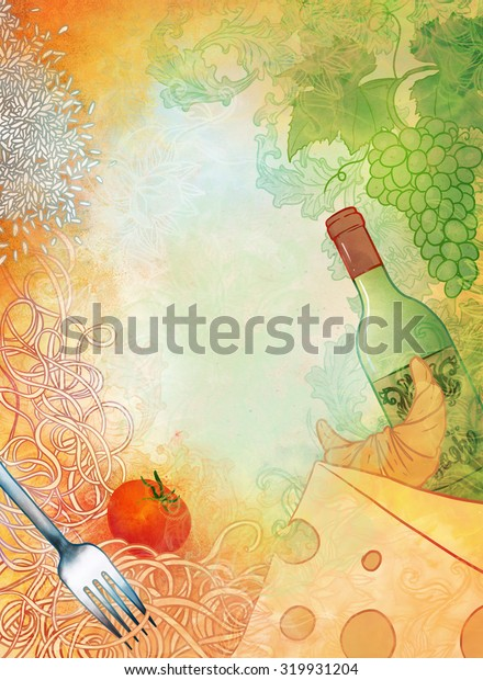 Raster hand drawn illustration Mediterranean cuisine.