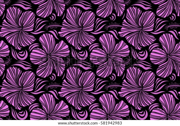 Raster hand drawn painting of hibiscus flowers in pink and purple colors. Seamless pattern on black background.