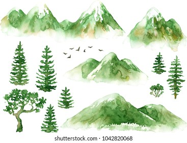Raster hand drawn watercolor set of mountains and trees isolated on white. Natural, ecological, touristic themes, design element, printed goods.