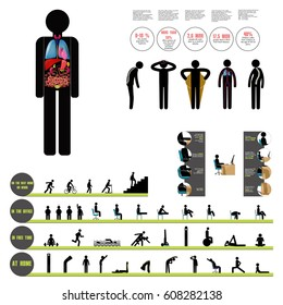 raster healthy lifestyle infographic