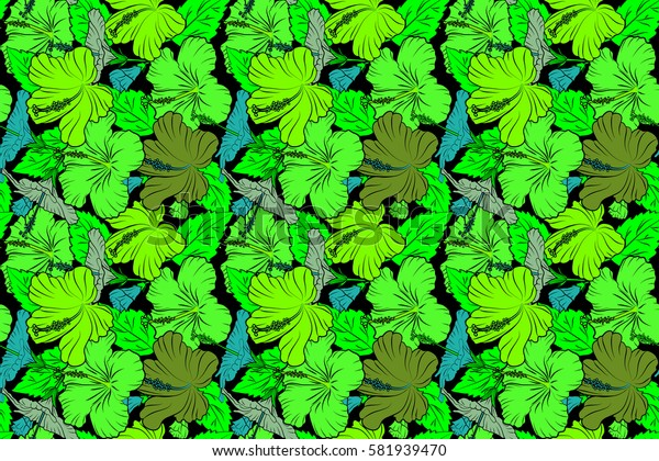 Raster hibiscus flower in blue and green colors on a black background.
