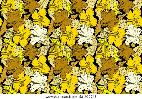 Raster hibiscus flower seamless pattern in beige and yellow colors on a black background.