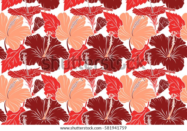 Raster hibiscus flowers and buds retro seamless pattern illustration in orange and red colors on white background.