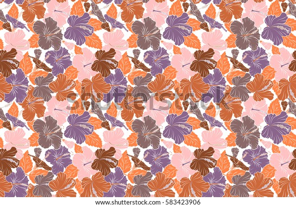 Raster hibiscus in purple and orange colors on a white background. Seamless pattern with tropical flowers in watercolor style.