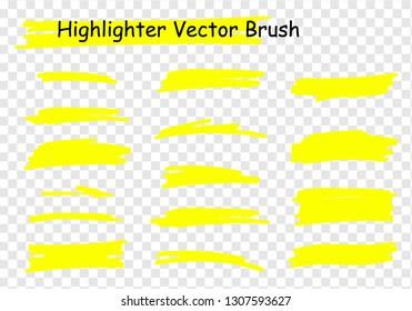Raster highlighter brush set. Hand drawn yellow highlight marker stripes.