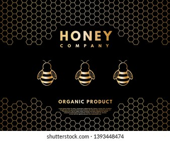 Raster honey logo for company, label, background.