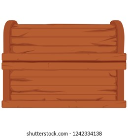Raster  icon with cartoon closed brown wooden pirate chest on white background