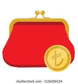 raster icon golden coin with Turkish lira curreny sign, symbol and red purse, wallet. Golden coin Turkish lira