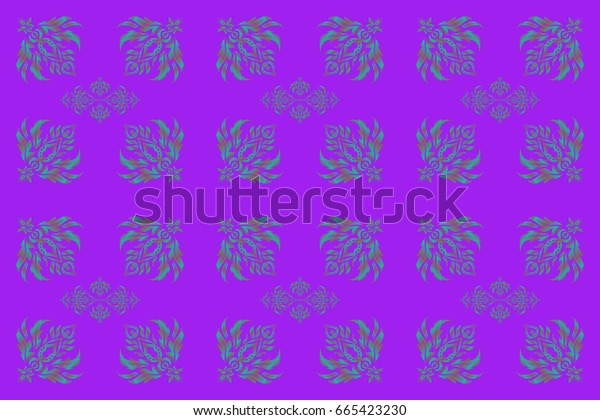 Raster illustration. Abstract ornament seamless pattern in the style of baroque. Traditional classic pattern in blue, violet and pink colors.