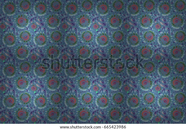 Raster illustration. Abstract ornament seamless pattern in the style of baroque. Traditional classic pattern in green, violet and purple colors.
