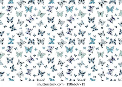 Raster illustration. Abstract seamless pattern for girls, boys, clothes, wallpaper. Collection of colorful butterflies, flying in different directions.