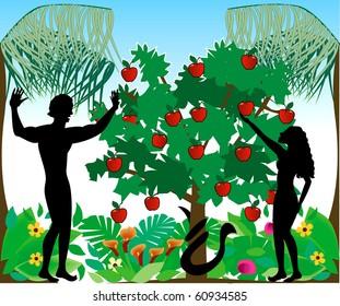 Raster Illustration of Adam warning Eve not to eat the forbidden fruit in the Garden of Eden.