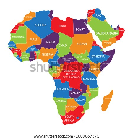 Raster Illustration Africa Map Countries Names Stock Illustration